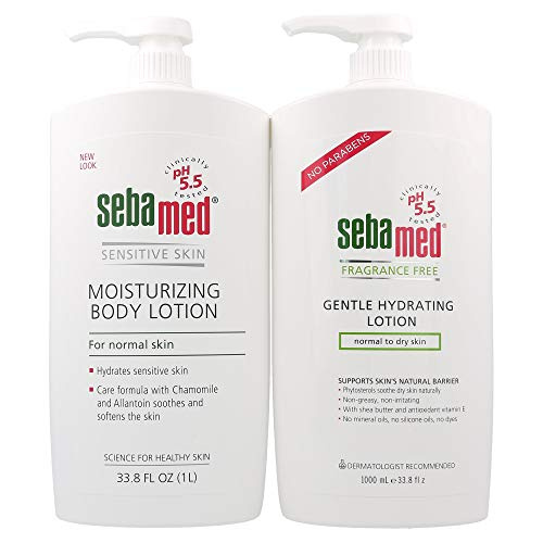 Sebamed Moisturizing Body Lotion with Pump for Sensitive Skin (1 Liter) and Fragrance Free Gentle Hydrating Lotion for Normal to Dry Skin (1 Liter) Value Pack