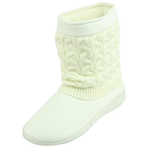 Forfoot for Women, Winter Warm Indoor Outdoor Slippers Booties House Shoes(Small, US 7-8,White)