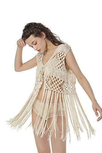 Acemi Damen ärmel crochet lange troddel fringe weste 70er cover up hippie-kleidung für freie größe weiß