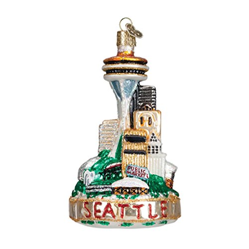 Old World Christmas Cities, Places and Landmarks Glass Blown Ornaments for Christmas Tree Seattle Skyline