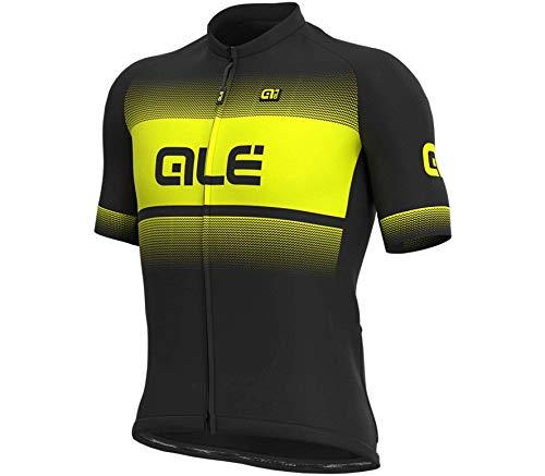Alé Cycling Solid Blend Kurzarm Trikot Herren Black/Fluo Yellow Größe M 2020 Radtrikot kurzärmlig
