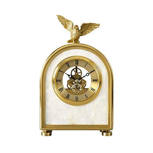 ZzheHou Reloj De Repisa Adornos Moderna Sala de Mesa de Reloj de la Sala Principal de Silencio Creativo para La Oficina del Dormitorio De La Sala De Estar (Color : Gold, Size : 9.8cm)