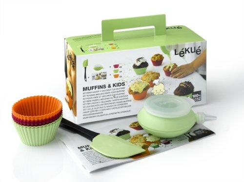 Lékué Coffret préparation muffins spécial enfants -6 Moules Cup Cakes + 1 Decopen + 1 Spatule 20 cm Silicone