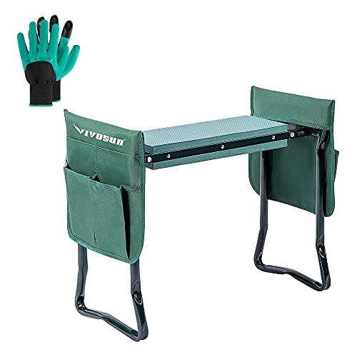 VIVOSUN Tragbarer Garten-Kniesitz, zusammenklappbar, Gartenbank mit EVA-Schaum-Pad, 2 Werkzeugtaschen für Outdoor-Gartenarbeit, mit Handschuhen