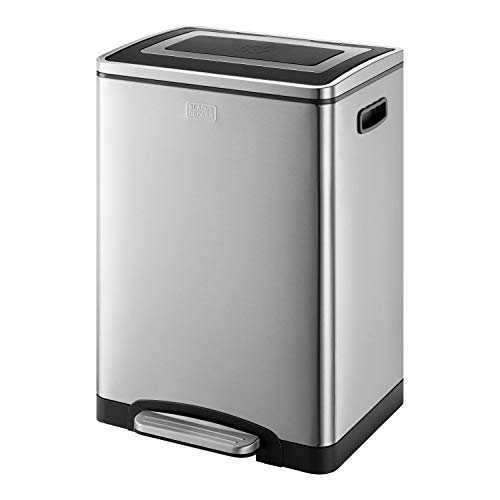BLACK+DECKER BXBN0003GB 40L Duo Recycling Bin with Soft Close Lid, Stainless Steel, 60cm x 39.5cm x 34cm, Cool Grey