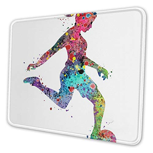 Mouse Pad with Stitched Edge,Girl Soccer Player Watercolor Print Sports Premium-Textured Mouse Mat, Non-Slip Rubber Base Mousepad for Laptop Computer PC Office