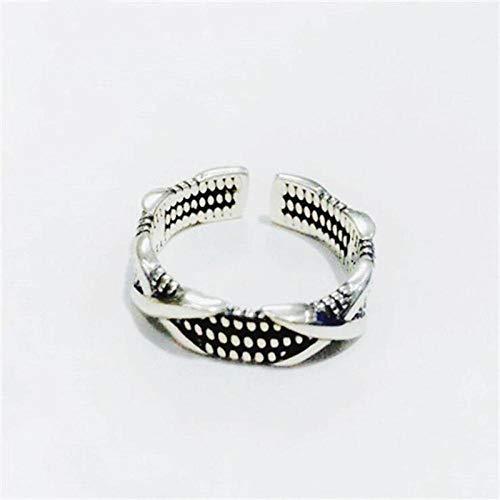PRAK Damen 925 Sterling Silber Ringe,Einstellbare Mode Persönlichkeit Doppel Xx Ring Kreative Retro Old Fashion Menschen Ring Öffnen Kreative Sekt Süß Verschleiß