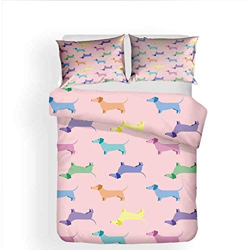 XLLJA Double Bed,3D Children Cartoon Dog Bedding Sets, Duvet Cover and 2 Pillowcases, Kids Room, Guest Room, Sing Bed, Super King@C86_229*259cm(3pcs)