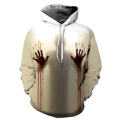 Morbuy Unisex 3D Hoodie, Herren Damen Halloween Stil 3D Druck Kapuzenpullover Langarm Persönlichkeit Drucken Bluse Herbst und Winter Paare Hoodies (S/M, Blut-Hand)
