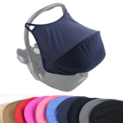 BAMBINIWELT zonnescherm UV50+ voor Maxi-Cosi Cabriofix, zonnedak babyschaal, autostoel Velour dunkelblau VELOUR