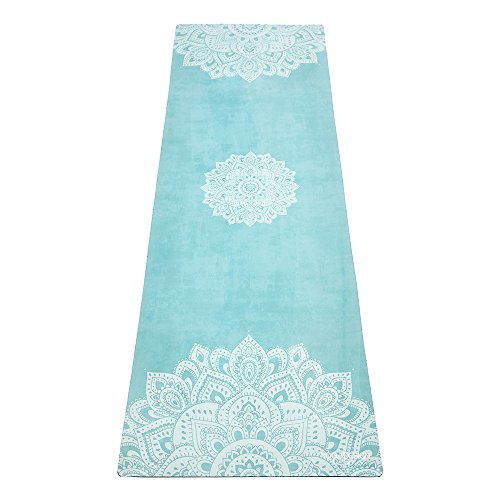 YOGA DESIGN LAB | The Combo Yoga Mat | 2-in-1 Mat+Towel | Eco Luxury | Ideal for Hot Yoga, Power, Bikram, Ashtanga, Sweat | Studio Quality | Includes Carrying Strap! (YDL-Mandala-Turquoise, 3.5mm)
