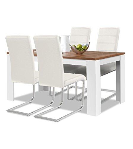 agionda® Esstisch Stuhlset : 1 x Esstisch Toledo Nussbaum/Weiss 140 x 90 cm 4 Freischwinger Weiss