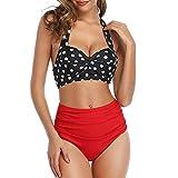 Bikini Traje Traje De Baño para Mujer Traje De Baño Vintage para Mujer Conjunto De Bikini Sexy con Estampado De Cintura Alta con Pliegues Y Espalda Descubierta De Dos Piezas Conjunto De Bikini Sexy