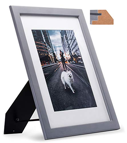 8.5x11 Thin Gray Wood Picture Frame with Glass Front, Modern Design for 6x8 Photo with Mat or 8.5 x 11 Document, Diploma, Certificate, Artwork, Prints