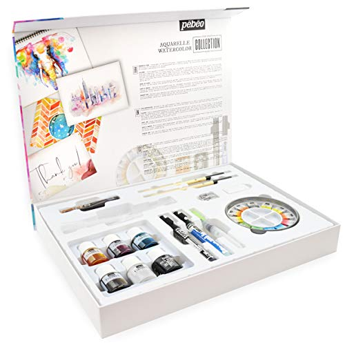 Pebeo Watercolor Aquarell Painting Set - Professional Artist Collection Box - Set of 36