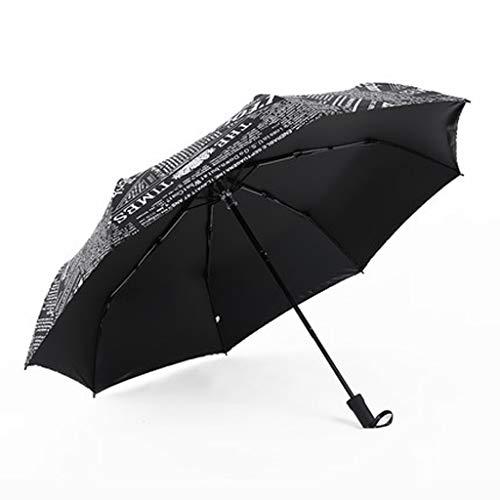 JCOCO Automatische Umbrella Falten Kleine Frische Britische Männer Und Frauen Regen Und Regen Zeitung Regenschirm Student Sun Umbrella (Farbe : SCHWARZ)