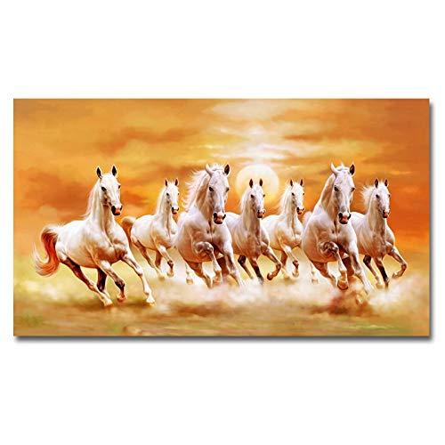 Frameloos Moderne Zeven Rennende Paarden Canvas en Wall Art Poster En Prints Foto Woondecoratie Voor Woonkamer60x110cm