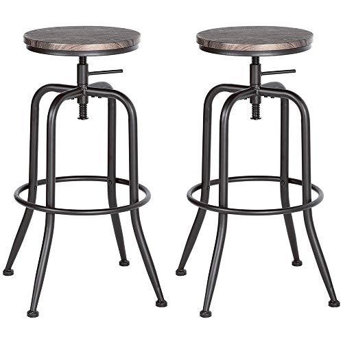 BAKAJI Juego de 2 taburetes de bar o cocina vintage, asiento giratorio de madera MDF, estructura metal barnizado en polvo negro, altura ajustable, tamaño 39 x 39 x 69/77 cm (nogal)