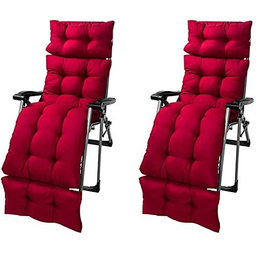 LHSUNTA Cojín Grueso Relajante reclinable para jardín y Patio de 2 Piezas, Cojines mejorados para tumbonas con Funda Antideslizante, cojín Grueso y extendido para piernas y pies, Rojo, 180x55cm