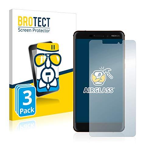 BROTECT Panzerglas Schutzfolie kompatibel mit Nokia 6.1/6 2018 (3 Stück) - AirGlass, extrem Kratzfest, Anti-Fingerprint, Ultra-transparent