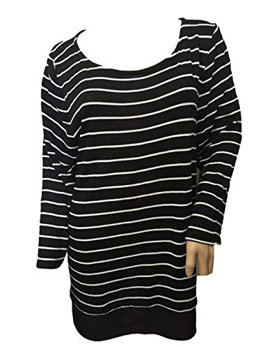 Talbots Striped Black and White Long Sweater Pullover Tunic TEE XL