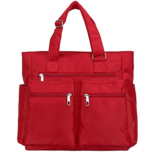 Canvas Tote Bag Waterproof Nylon Multi Pocket Shoulder Bags Laptop Work Bag Teacher Purse and Handbags for Women & Men (Red)