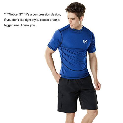 MEETYOO Kompressionsshirt Herren, Laufshirt Kurzarm Funktionsshirt Atmungsaktiv Sportshirt Männer T-Shirt für Running Jogging Fitness Gym - 2