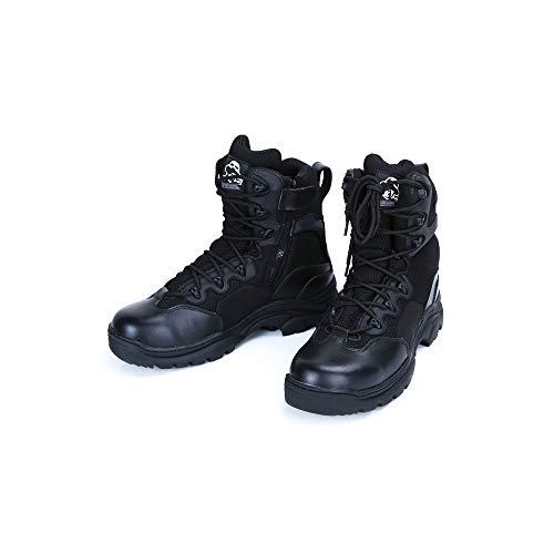 GZSZ Botas de combate del desierto Botas de senderismo con cremallera lateral Resistente al desgaste, transpirable, color arena negra dos colores -Suela resistente al desgaste Negro-41EU