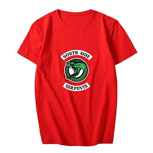 Riverdale Camiseta Versión Coreana for Hombre de Manga Corta Impresa Camisa Casual for el Verano otoño Ropa Deportiva Gimnasio Unisex (Color : Red01, Size : XL)