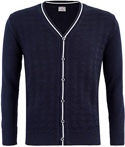 STENSER Kt11-1 Jungen Cardigan Strickjacke Durchgeknöpft V-Ausschnitt Zierstreifen Schuluniform 100% Baumwolle, Blau, 164 (Label Size 42)