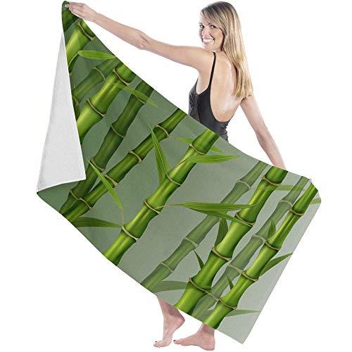 Toalla de Microfibra Secado rápido, Ligera, Absorbente, Suave y grante Yoga, Fitness, Playa, Gimnasio Planta de árbol de bambú Verde 3D 130X80cm