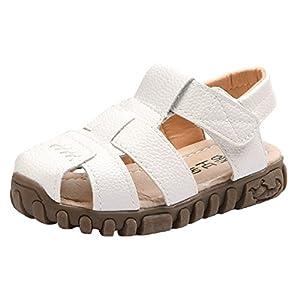 (コ-ランド) Co-land 赤ちゃん靴 サンダル 夏 男の子 女の子 つま先保護 シンプル ベビーシューズ 出産祝い マジックテープ 13.5CM ホワイト