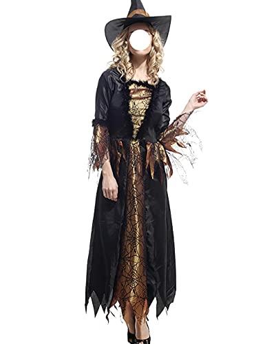 Disfraz de bruja para disfraz de elfo para Halloween, Navidad, Pascua, fiesta de rendimiento, conjunto completo, negro _S