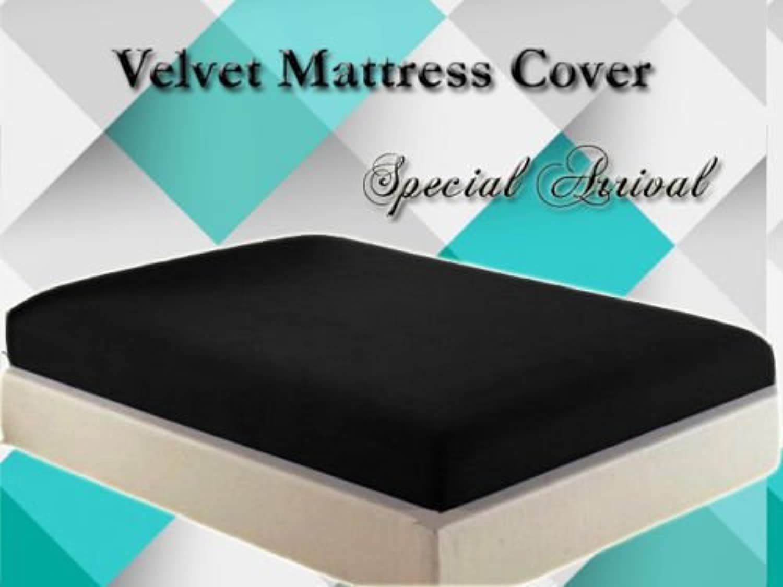 Healthybusiness1 Luxurious Velvet Mattress Cover Predector 1 pc with Zipper Closure Gift Home Decor, Black, Twin XL, 18  Height Mattress