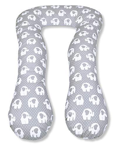 Amilian Kissenbezug für Schwangerschaftskissen Lagerungskissen Relaxkissen Elefant KLEIN Grau TYP A