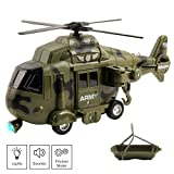 Vokodo Military Helicopter 11' With Lights Sounds Push And Go Includes Rescue Basket Durable Toy Friction Power Kids Army Soldier Chopper Pretend Play Truck Great Gift For Children Boys Girls Toddlers