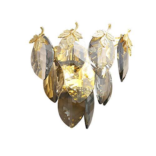 YXNKK G9 Lámpara de Pared de Cristal Claro para Decoración Interior, Aplique de Pared Metal Moderna con Pantalla de Cristal Hojas, Luces de Pared Salón Nórdico, con 2 Bombillas LED 5W, Negro/Dorado