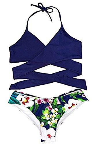 CUPSHE Women's Low Rise Bikini Set Cross Padding Halter Bathing Suit, XL Dark Blue