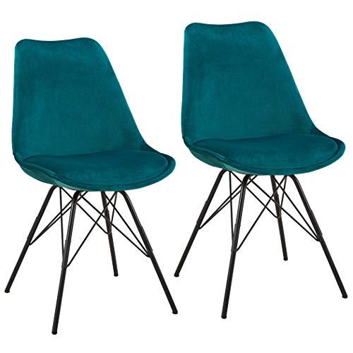 Duhome 2er Set Esszimmerstuhl Küchenstuhl Metallbeine Sitzkissen Retro Farbauswahl 518MJ, Farbe:Petrol, Material:Samt
