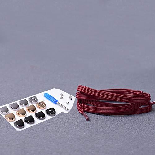 HLWJ Cordones planos de lona casuales para deporte, rápidos, sin atar, fáciles de usar, para mujer, para hombre, elasticidad al aire libre, cuerdas sólidas (color: rojo vino)