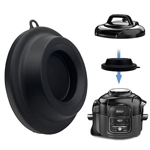 Soporte de tapa de silicona, soporte para olla a presión de silicona para olla a presión Ninja Foodi y freidora de aire de 5 Qt, 6.5 Qt y 8 Quart (negro)