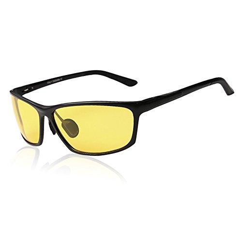 DUCO Herren und Damen Polarisierte Blendschutz Nachtfahrbrille HD Nachtsicht Gelb Fahrbrille 2179 (Schwarz)