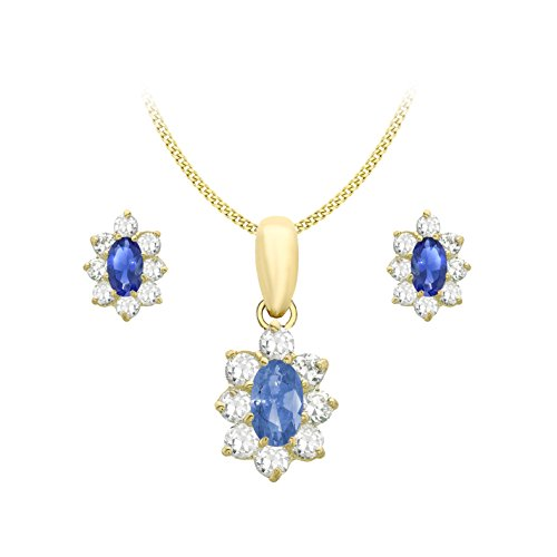 Carissima Gold Juego de joyas de mujer con oro amarillo de 9K (375/1000), circonita azul, 46 cm
