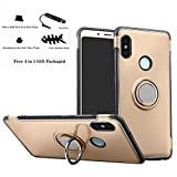 Labanema Xiaomi Redmi Note 5 Funda, 360 Rotating Ring Grip Stand Holder Capa TPU + PC Shockproof Anti-rasguños teléfono Caso protección Cáscara Cover para Xiaomi Redmi Note 5 / Redmi Note 5 Pro - Oro
