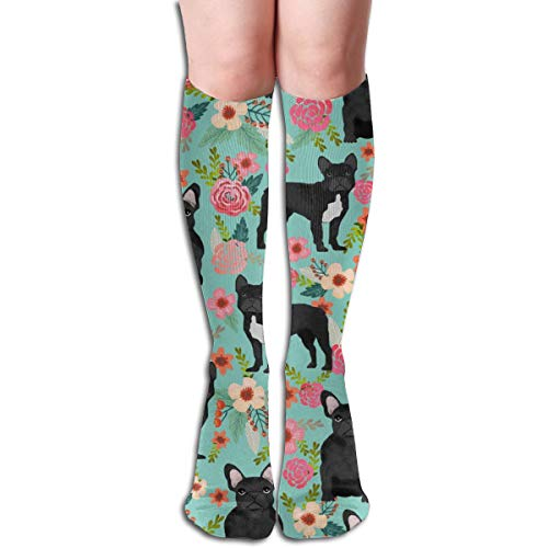 French Bulldog Floral Fabric - Black Frenchie Fabric Compression Socks Adult Knee High Sock Gym Outdoor Socks 50cm 19.7inch