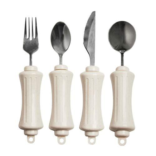 SP Ableware Maddadapt II Utensil Set with Built-Up Handles – Teaspoon, Soup Spoon, Knife, Fork – White (746200014)