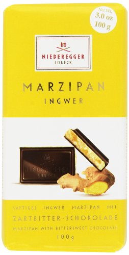 Photo of Niederegger Classic Dark Chocolate Marzipan Bar with Ginger 100 g (Pack of 4)