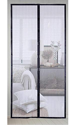 Hands Free Mesh Screen Net Door Anti Mosquito Bug Magic Curtain with Heavy Duty Magnets Full Frame Velcro Mesh Curtain fit up to Inches Door (Fit Door Size 34x82 inches)