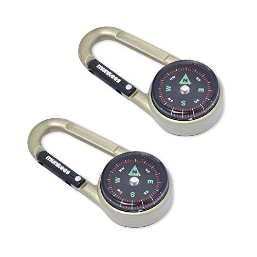 Munkees 2 x Mousqueton de Boussole avec thermomètre, porte-clés, multifonctions, pour escalade, aluminium, double pack, 3135