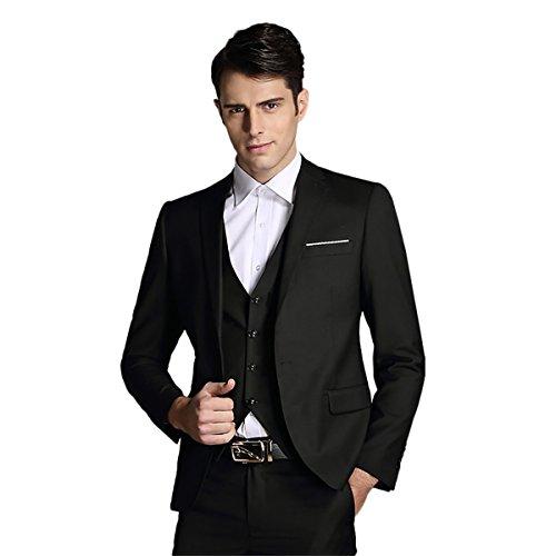 Mens Notch Lapel Modern Fit Suit Blazer Jacket Tux Vest and Trousers Set Three-Piece,Black,Medium